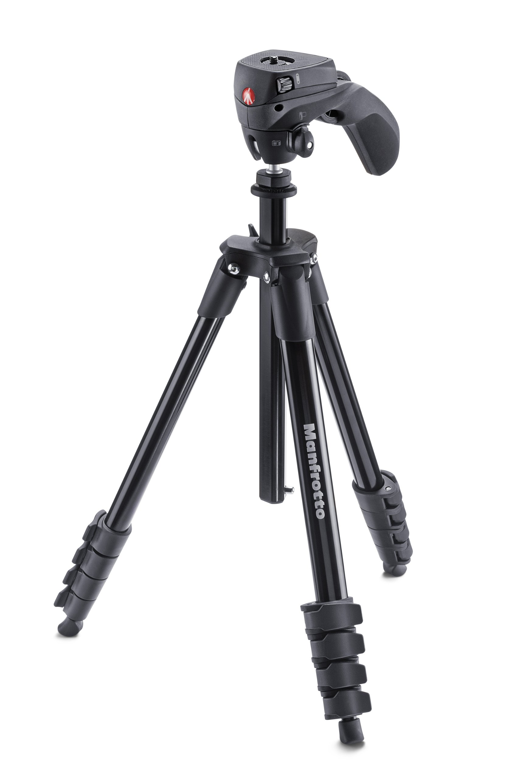 Manfrotto Compact Action Aluminum 5-Section Tripod Kit with Hybrid Head, Black (MKCOMPACTACN-BK) by Manfrotto