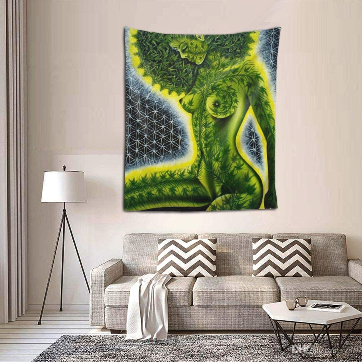 African American Women Beauty Green Marijuana Weed Leaf Wall Tapestry Hippie Tapestry Wall Hanging Home Decor Extra Large tablecloths for Bedroom Living Room Dorm Room