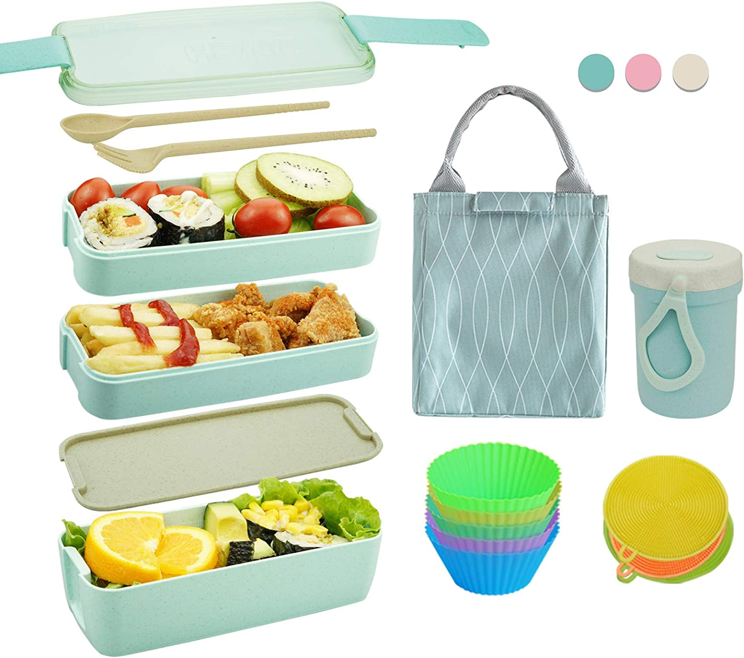 Bento Box Japanese Lunch Box Kit (11 PCS) 3-In-1 Compartment, Leak-proof Bento Lunch Box Meal Prep Containers with Utensils, Bento Boxes for Adults/Kids (Green)