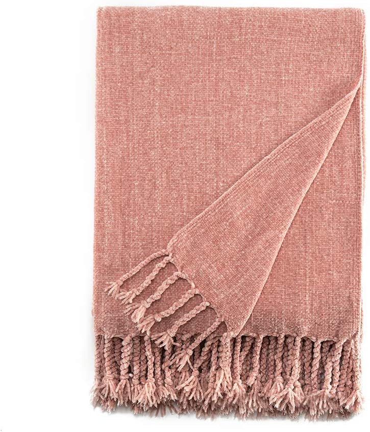 Bourina Chenille Throw Blanket with Decorative Fringe for Couch Sofa Chair Blanket (50×60 Inches) Pink