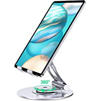 SUNDUO Tablet Stand Holder, 360° Rotate Foldable Adjustable iPad Stand, Aluminum Cell Phone Stands for Desk Compatible…