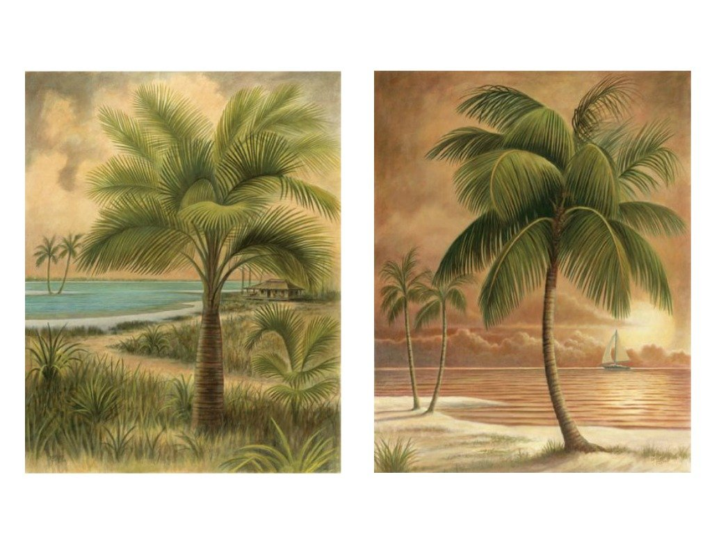 "wallsthatspeak 8"" x 10"" Island Palm Tree Wall Prints for Home (Set of 2), Beach Scene Decor for Bathroom or Office, Nautical/Beach Party Decorations, Hawaiian Art for Living Room"