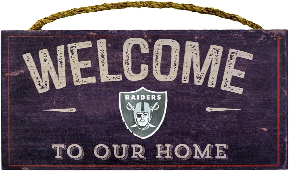"""Fan Creations Welcome Oakland Raiders Distressed 6 x 12, 6"""" x 12"""", Multicolored"""