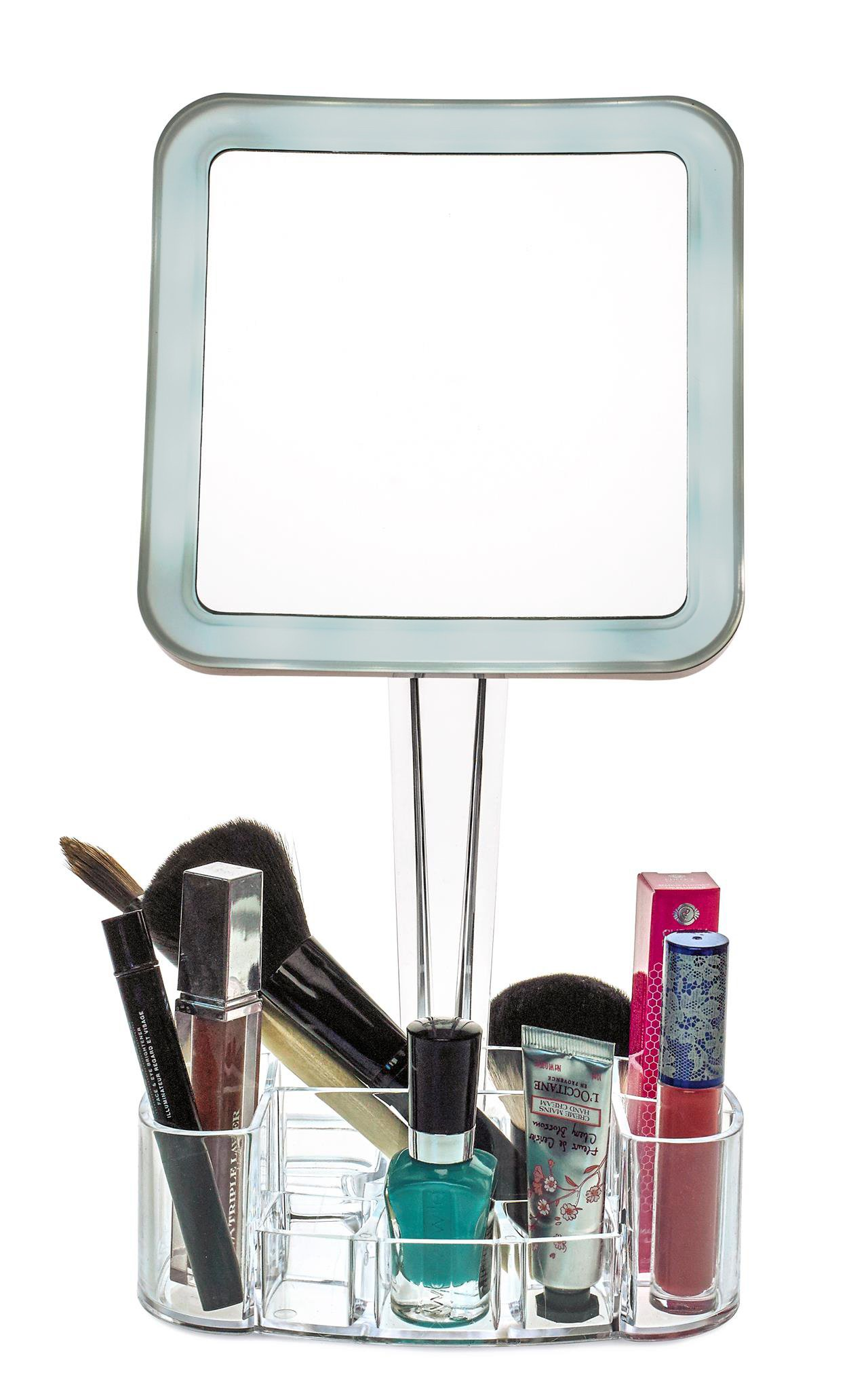 daisi Magnifying Lighted Makeup Mirror with Cosmetic Organizer Base   7X Magnification, LED Lighted Free Standing Bathroom Mirror for Vanity, Desk or Tabletop   Square