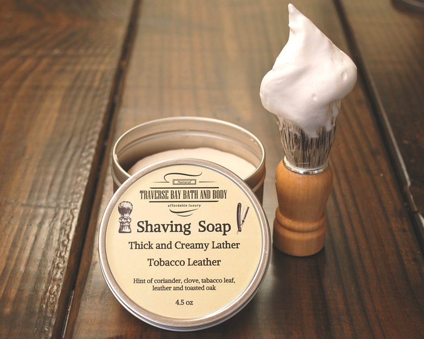 Bay Rum 4.5 oz Shaving Soap in a usable tin great for travel or home use. for wet shaving.