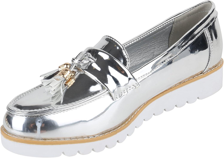 stiefelparadies Damen Slippers Plateauschuhe mit Keilabsatz Lack Quasten Flandell