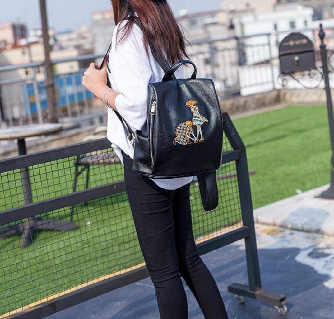 Color : Blue, Size : One Size JSHFD Couple Embroidery Shoulder Bag Womens Leather Multi-Function Personality Backpack