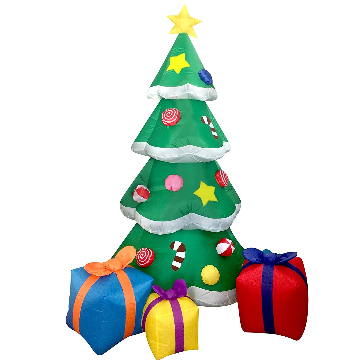 Joiedomi 7 Foot LED Light Up Giant Christmas Tree Inflatable with 3 ...