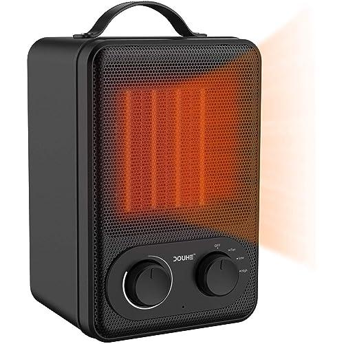 Calefactor de Potencia Regulable Eléctrico DOUHE Calentador de Ventilador PTC Elemento de Cerámica 1800W 1000W Viento Natural Ahorro Energía para Habitación Oficina Baño