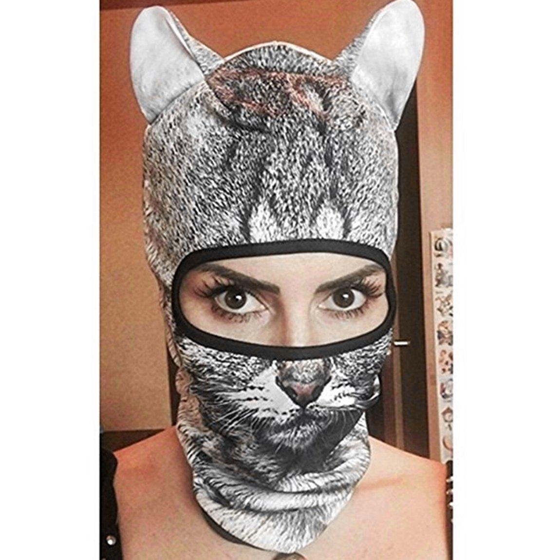 Outgeek Cat Mask, Women Men Balaclava Summer Full Face Hat Animal Ears Sports Helmet Climbing Fishing Cap (2PCS Cats) by Outgeek (Image #2)