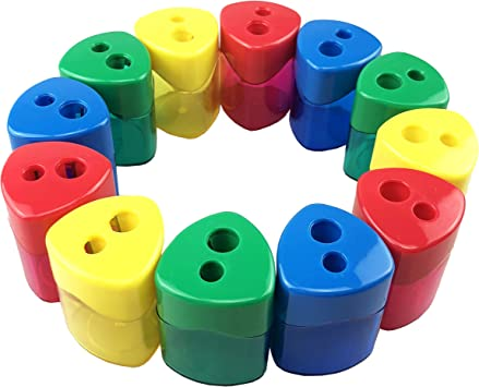 Office and Home 4 different colors, 12 packed Miukada Manual Pencil Sharpener with Receptacle for Regular or Oversize Pencil//Crayons Double Holes for School