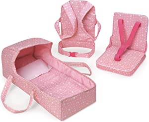 Badger Basket First Class 5-Piece Doll Travel Set with Bed, Front Carrier, and Seat (fits American Girl Dolls)
