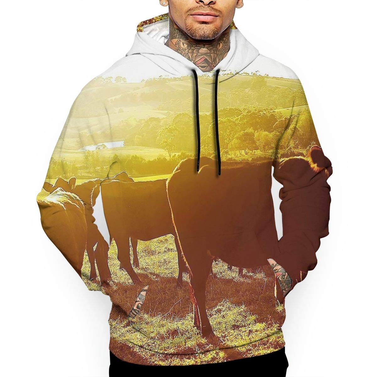 YUANSHAN Morning Cattle Mans Long Sleeve Hoodie Casual Pocket Hooded Sweatshirt