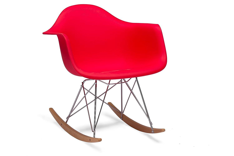 Amazon.com   Baxton Studio Dario Plastic Mid Century Modern Rocking Chair,  Black   Chairs