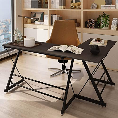 HOMBYS L-Shape Corner Desk Study Working Gaming Computer Writing PC Table Office Home Wood Work Station,Black