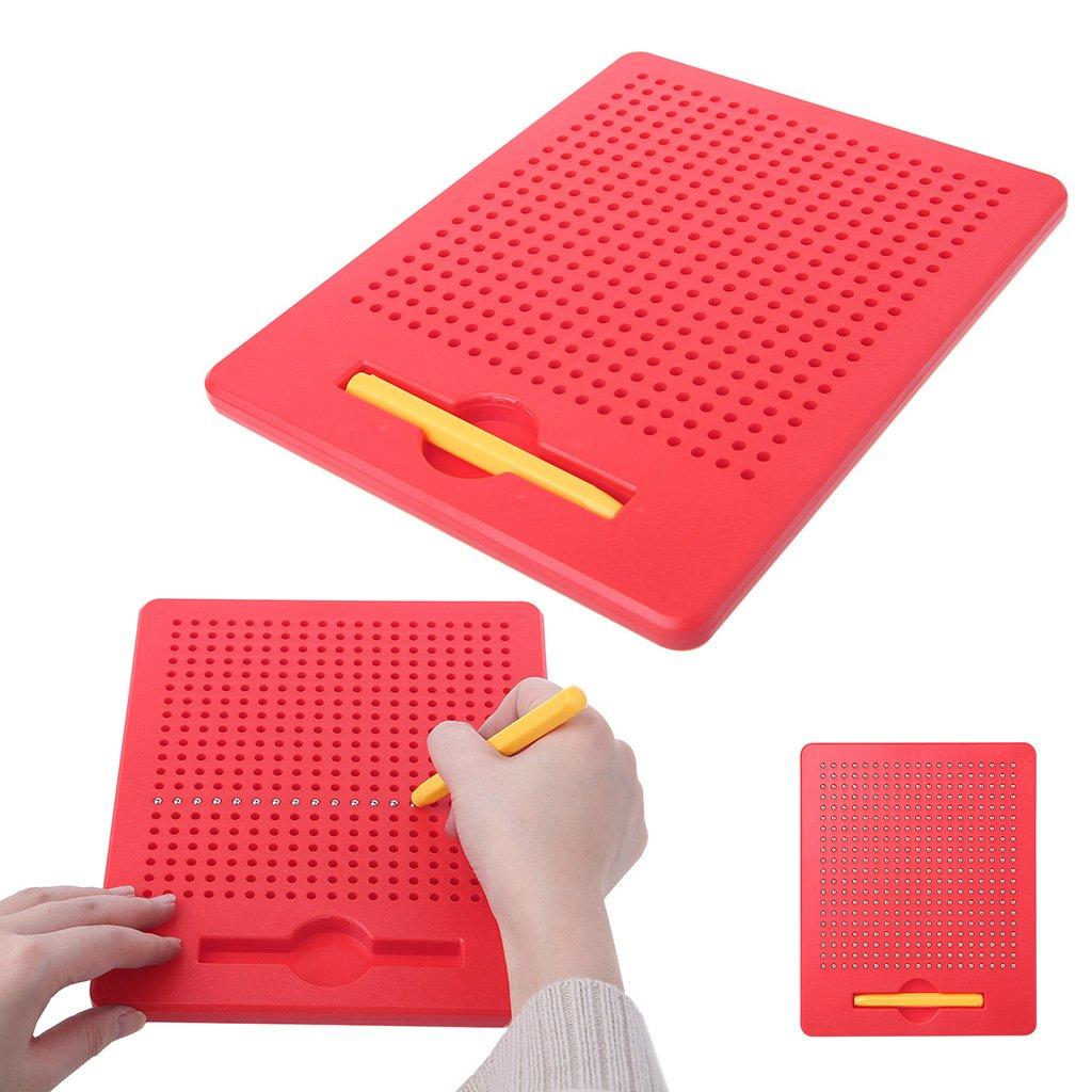 Qiuxiaoaa Kinder Baby Magnetic Steel Ball Schreibtafel Schreiben Rei/ßbrett Magnetische Kugel Sketch Pad Tablet P/ädagogisches Kinder Spielzeug Rot