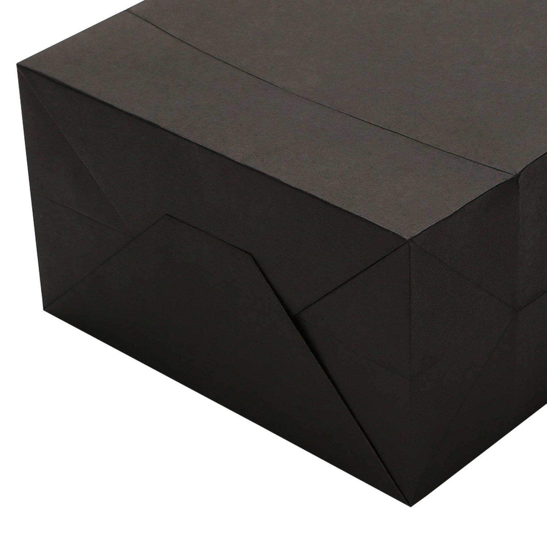 Road Lot de 50 Sacs en Papier Kraft Noir avec Poign/ées pour Courses Vente au D/étail Marchandise 20,3 x 12 x 26,7 cm Bricolage Cadeau ou F/ête