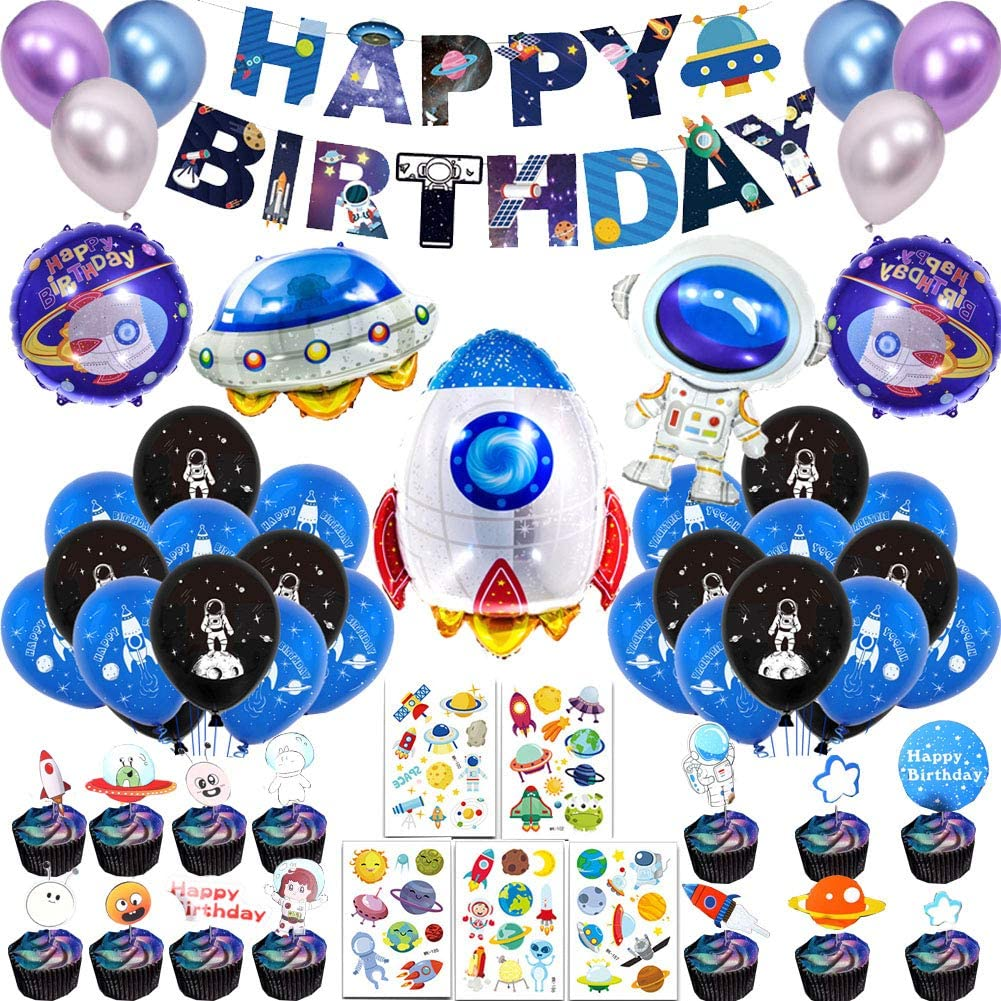 66Pcs Outer Space Birthday Party Supplies for Kids Universe Space Theme Party Decorations with Solar System Happy Birthday Banner Cupcake Toppers Rocket Astronaut Spaceship Balloons Planet Themed Party Supplies Birthday Galaxy Theme Party Decor for Boys Girls