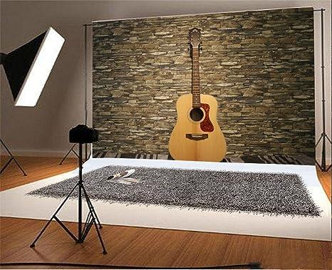 YongFoto 1,5x1m Vinilo Fondos Fotograficos Ladrillo Música Guitarra Vendimia Ladrillo de Piedra Fondos para