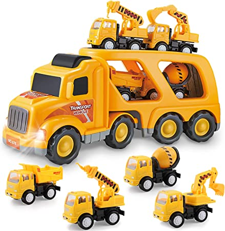 Construction Truck Toys for 3 4 5 6 Years Old Toddlers Kids Boys and Girls, Car Toy Set with Sound and Light, Play Vehicles in Friction Powered Carrier Truck, Small Crane Mixer Dump Excavator Toy