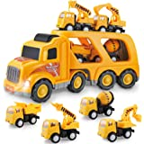 Construction Truck Set with Sound and Light, Play Vehicles in Friction Powered Carrier Truck, Car Toy Set for 3 4 5 6 7…