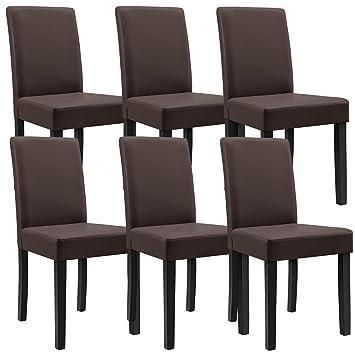 [en.casa]®] 6 sillas tapizadas (marrón - Mate) (Alta Calidad) con Patas de Madera Maciza/Piel sintética/Elegantes / Set Ahorro