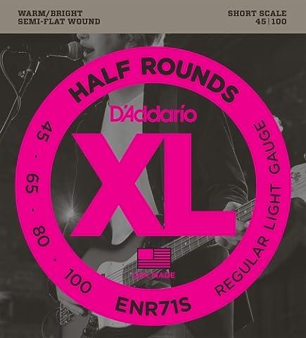 D'Addario ENR71S Half Round Bass Guitar Strings, Regular Light, 45-100, Short Scale (Flat Bass Guitar Strings)