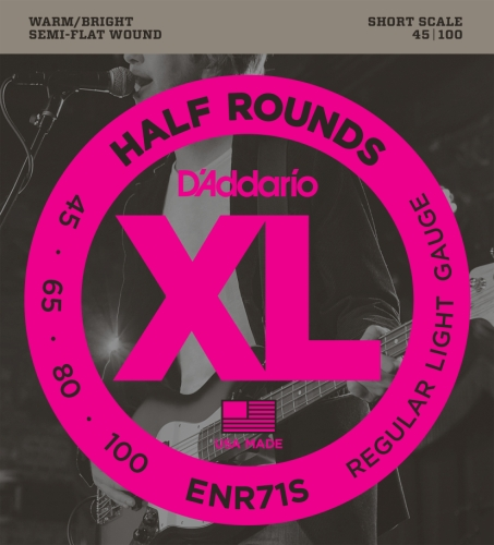 (D'Addario ENR71S Half Round Bass Guitar Strings, Regular Light, 45-100, Short Scale)