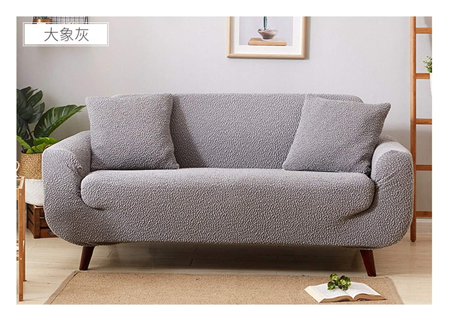 4seat VGUYFUYH Grey Thickening Fold Sofa Cover Polyester Full Package Elasticity Home Universal Sofa Cover Simple Fashion One Piece Durable Dust-Proof Pet Dog Predective Cover,4Seat