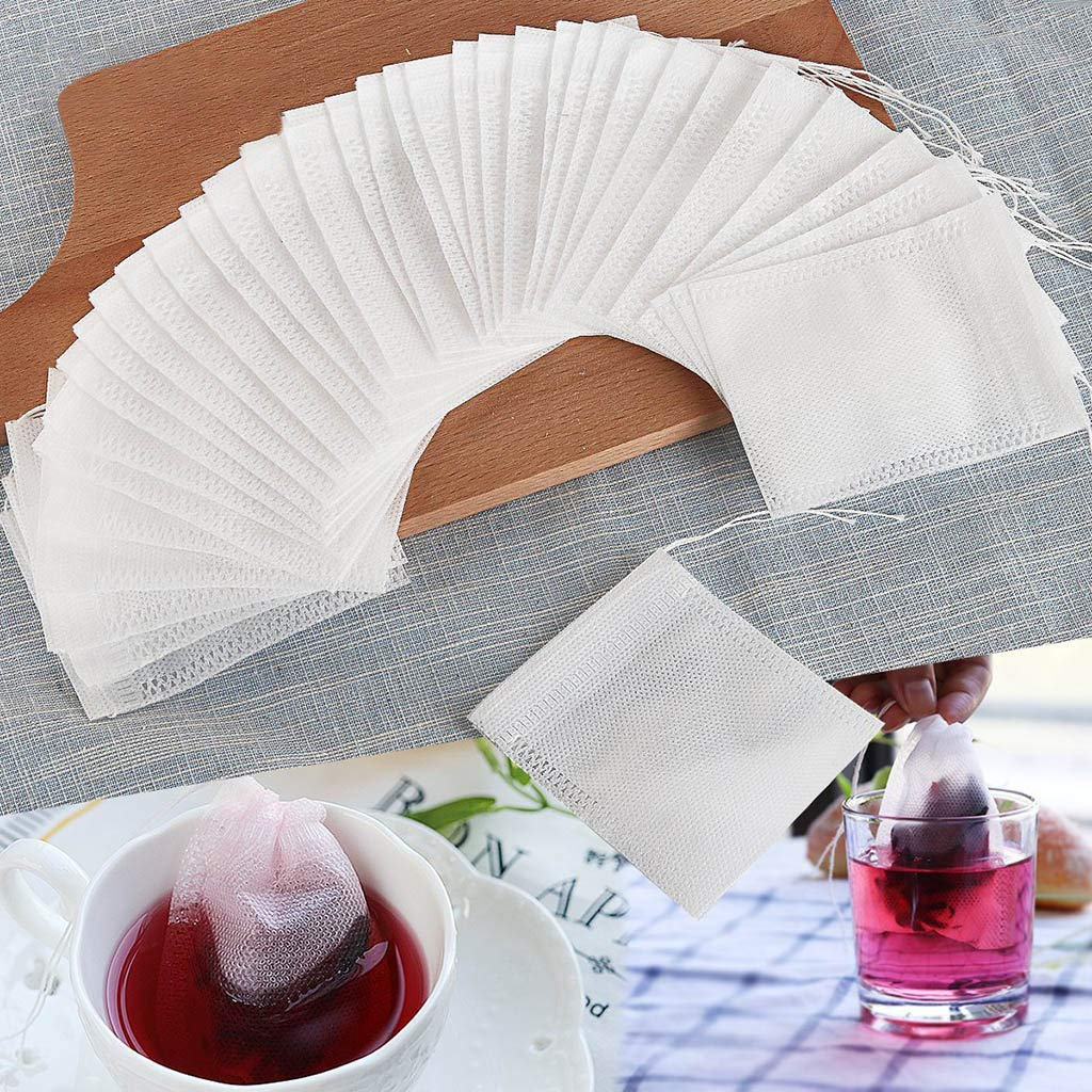 200 Pcs Disposable Tea Filter Bags,Efaster Spice package,Non-woven Drawstring Bag,Empty Cotton Drawstring Seal Filter Tea Bags for Loose Leaf Teal,100% Natural Unbleached Paper (White)