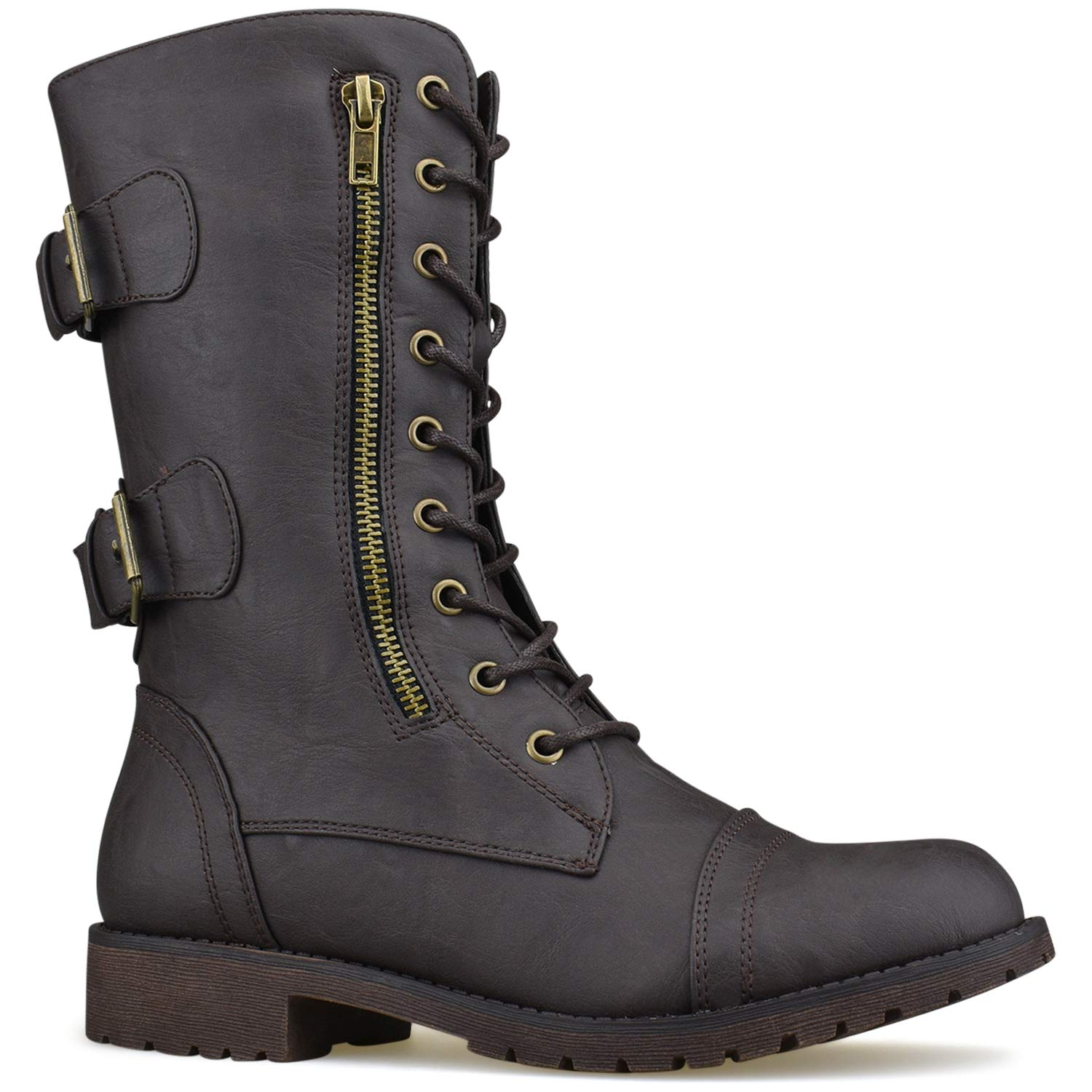 Womens Military Ankle Lace Up Buckle Combat Boots Mid Knee High Exclusive Booties Premier Standard