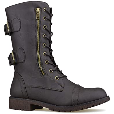 58aa5f6504f Premier Standard - Women s Military Ankle Lace Up Buckle Combat Boots Mid Knee  High Exclusive Booties