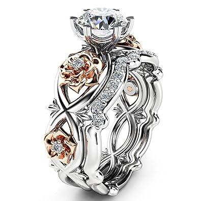 Amazon Com Bookear Women Silver Rose Gold Filed White Wedding