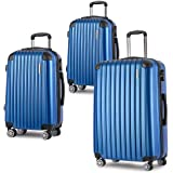 Luggage Set 3 Piece Baggage Suitcase Lightweight Expandable Hardside Spinner TSA Carry On 8 Wheel Blue