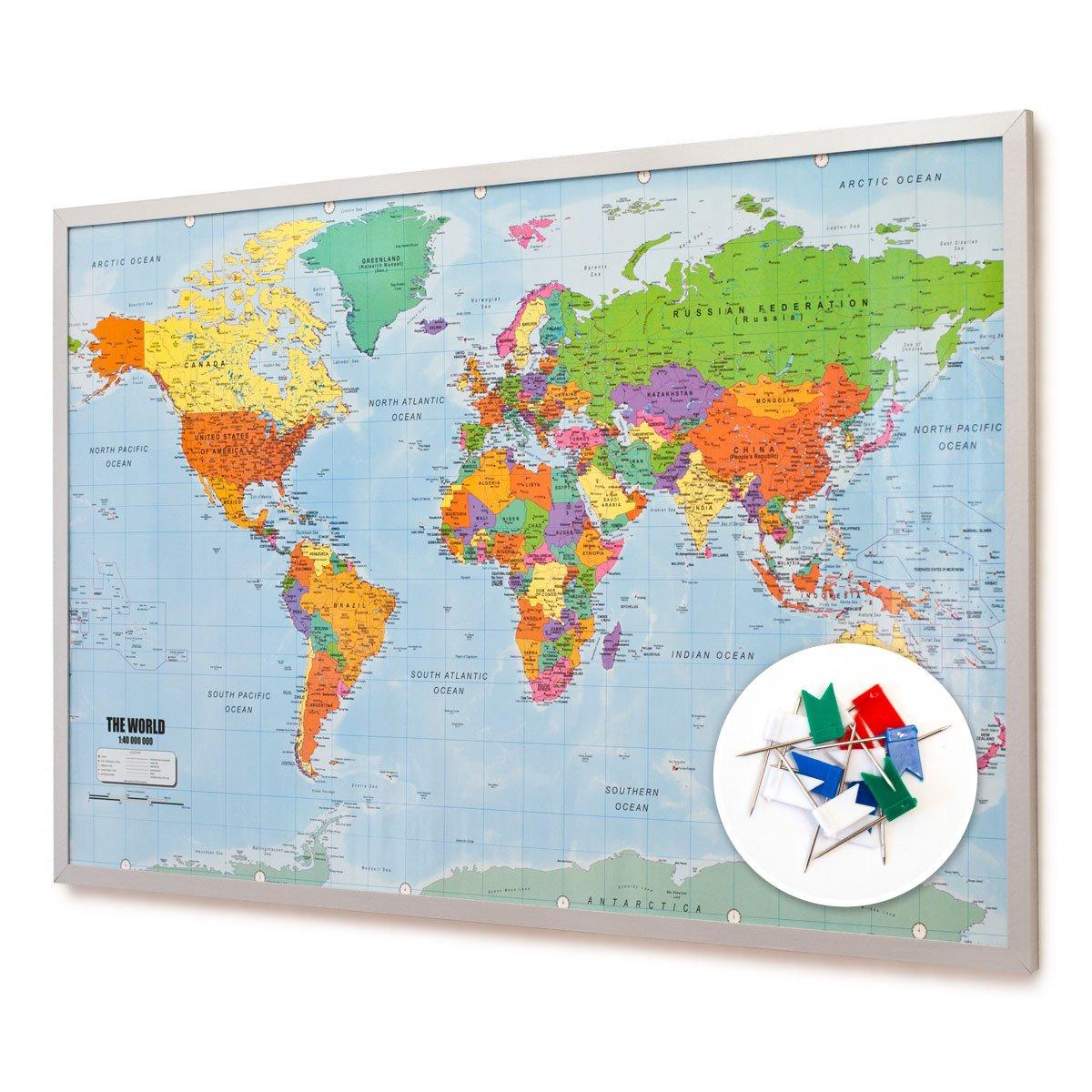 Pinnwand Weltkarte 90x60cm - Memotafel mit Cork & 20 Markierfähnchen ...