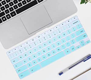 Keyboard Cover Skin Compatible with 11.6 inch Samsung Chromebook 3 4 XE501C13 XE500C13 XE310XBA,Samsung Chromebook 2 XE500C12, 12.2 Samsung Chromebook Plus V2 2-in-1 XE520QAB(Ombre Hot Blue)