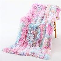 YOU SA Colorful Rainbow Design Shaggy Faux Fur Blanket Ultra Plush Long Hair Decorative Throw Blanket 51''x63'', Rainbow…