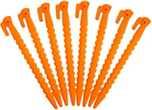 Camping Tent Stake Pegs / 8 Pack Outdoor Plastic Stakes for Bounce House Rain Tarps Outdoor Activities, Durable Plastic, Safety Orange-8.8inches