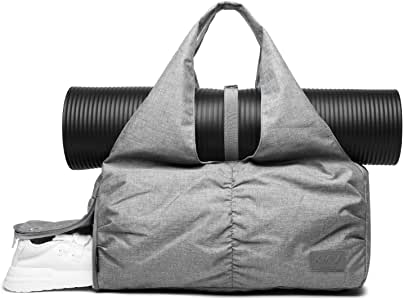 Fashion Women Yoga Gym Bag with Independent Shoe Compartment and Yoga Mat Holder (Light Grey, Medium)