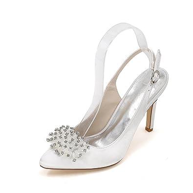 Elegant Women's Wedding Chaussures à Talons Hauts Après la Pointe de Fines Chaussures de Mariage Fines Custom Multi-Color Large Yards, Silver, 37