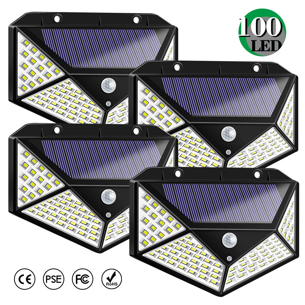Solar Lights Outdoor, Solar Powered Motion Sensor Lights 100 LEDs Outdoor Waterproof Wall Light Night Light with 3 Modes with 270° Wide Angle for Garden, Patio Yard, Deck Garage, Fence - 4 Pack