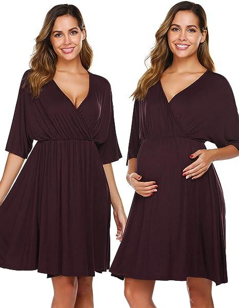 Women Maternity Dress Nursing Nightgown Breastfeeding Nightshirt Solid Sleepwear