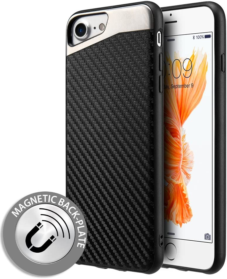 Compatible for iPhone SE 2nd Gen (2020), iPhone 8, iPhone 7 Case, Microseven [Carbon Fiber Finish] [Light Thin Cover] [Non Slip] [Bulit-in Metal Plate Works with a Magnet Mount]