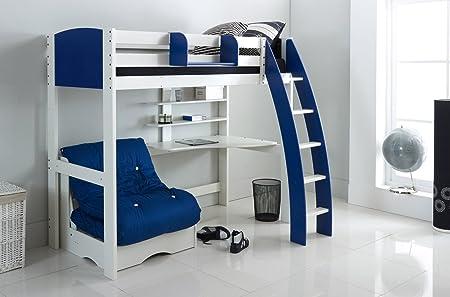 Alta de dormir cama – blanco/azul – curvada escalera – Escritorio de integral y estantes – Silla Cama – Gancho sobre estante. Fabricado en el Reino Unido.: Amazon.es: Hogar