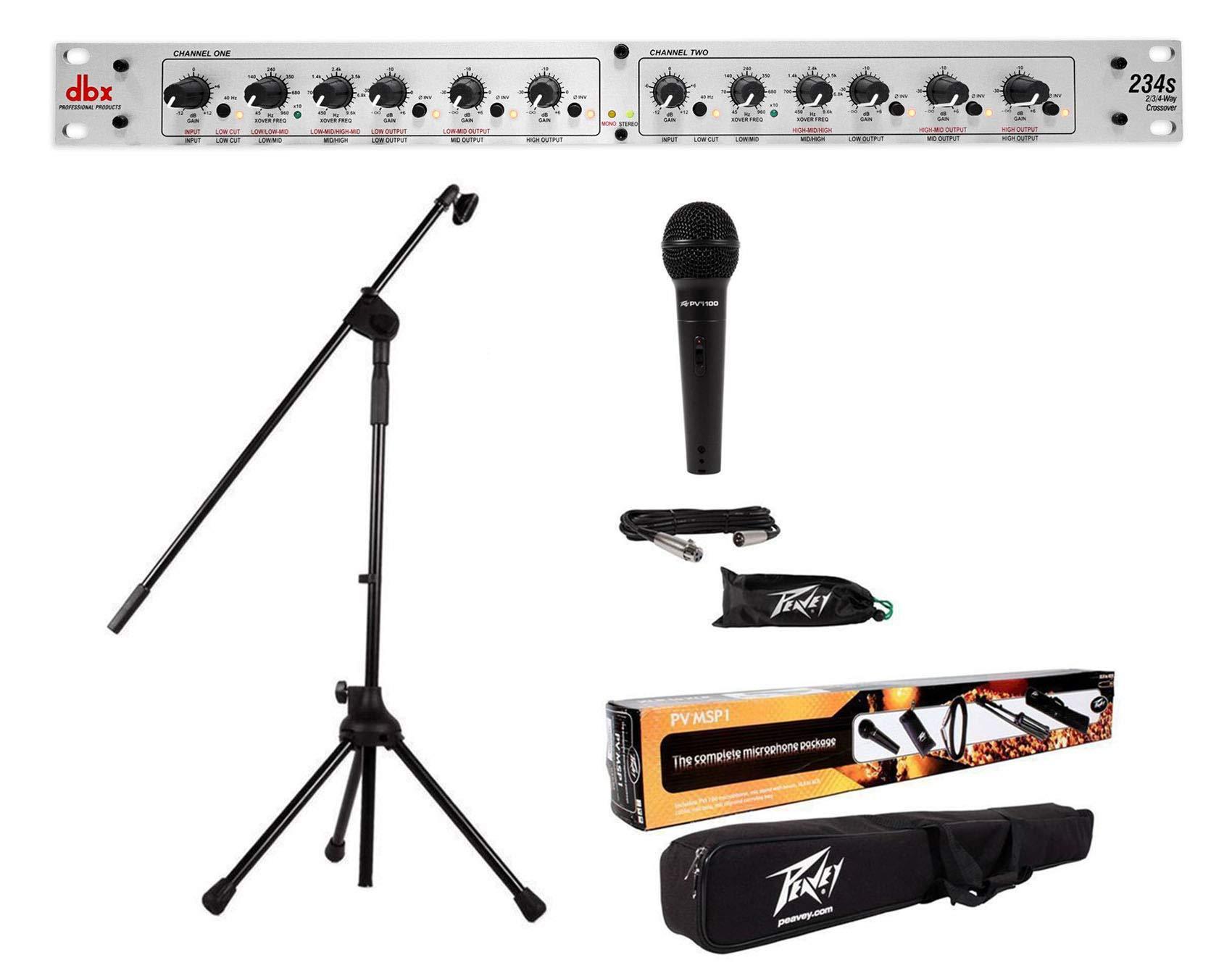 DBX 234S Stereo 2/3 Way/Mono 4-Way Crossover+Peavey Mic+Stand+Boom+Gig Bag+XLR