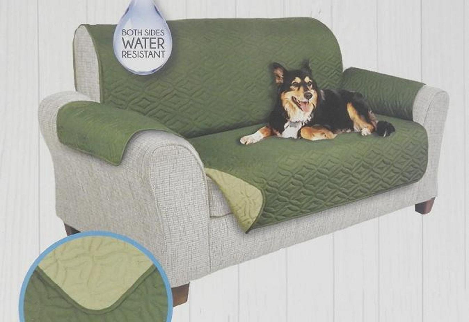 DINY Home & Style Reversible Quilted Furniture Protector For Loveseat 75'' x 88'' Two Fresh Looks in One Water Resistant (Olive/Sage)