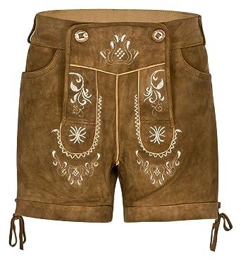 Hirschberger Kurze Damen Antik Trachten Lederhose