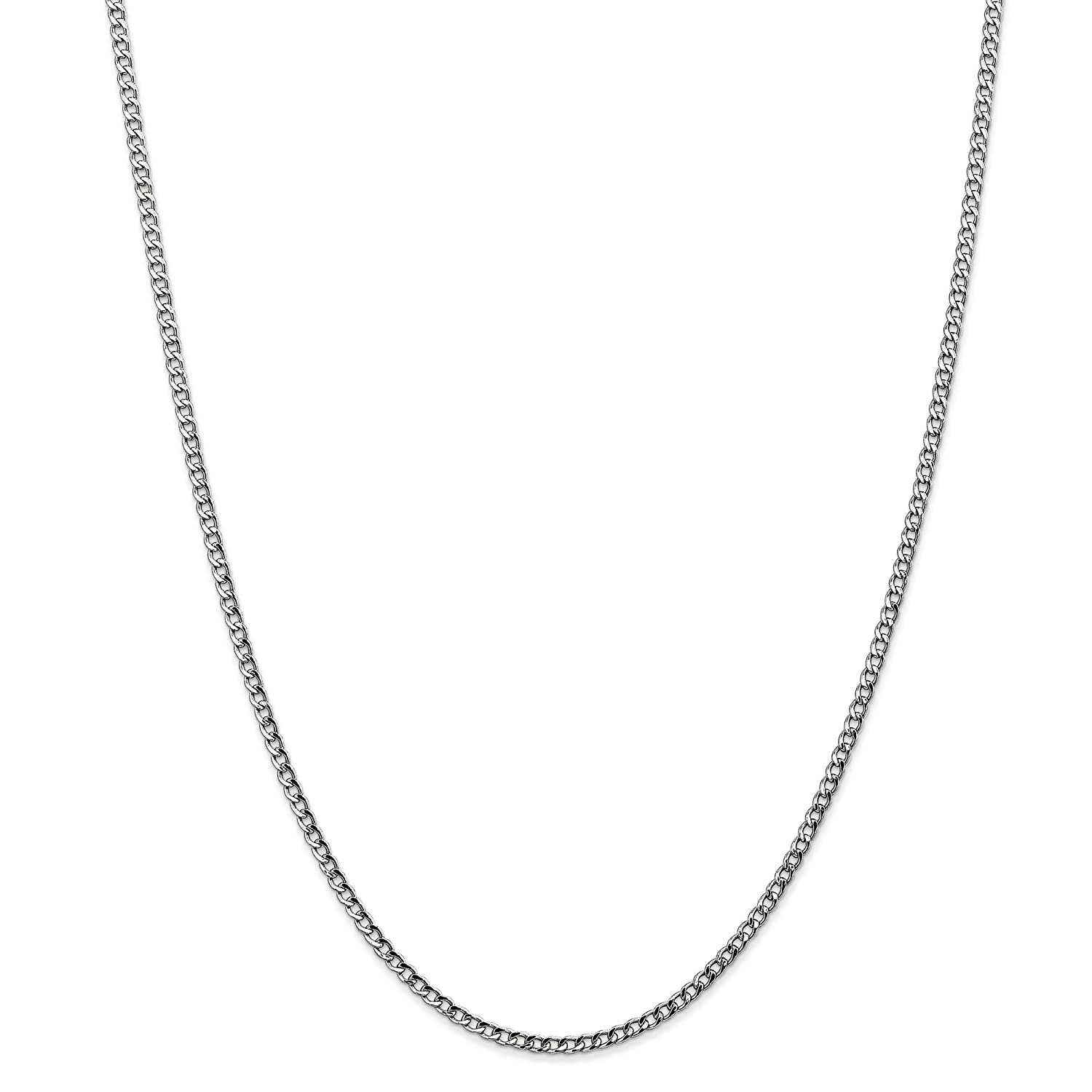 14k White Gold 18in 2.50mm Lightweight Curb Link Necklace Chain