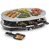 Klarstein Steaklette raclette con parrilla (1.500 W, regulador de temperatura, 3 planchas intercambiables, plancha de piedra, para 8 personas)