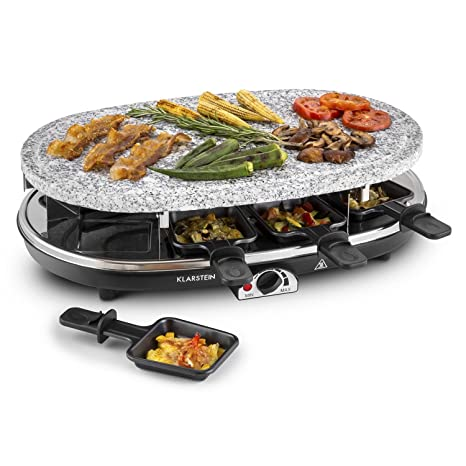 Klarstein All-U-Can Steaklette Raclette - Parrilla de mesa , Barbacoa-Party , 1500W , regulador de temperatura , Plancha de granito, Crepera , plancha ...